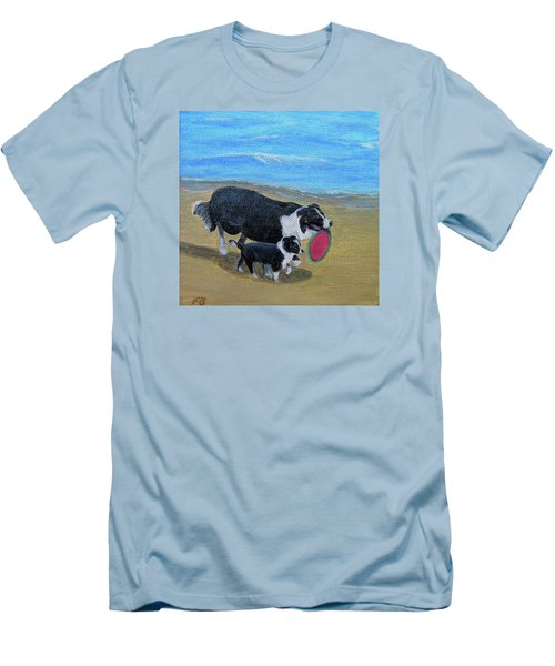 Men's T-Shirt (Slim Fit) featuring the painting Beach Frisbee by Fran Brooks