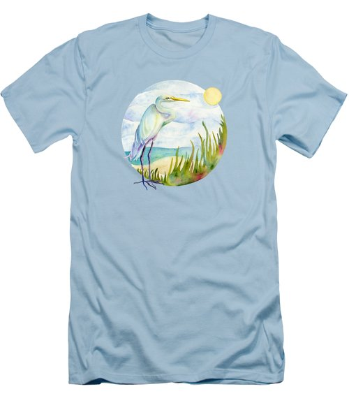 Beach Heron Men's T-Shirt (Slim Fit) by Amy Kirkpatrick