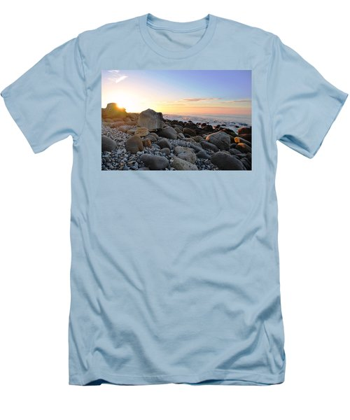 Beach Sunrise Over Rocks Men's T-Shirt (Slim Fit) by Matt Harang