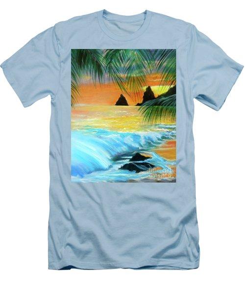 Beach Sunset Men's T-Shirt (Slim Fit) by Jenny Lee