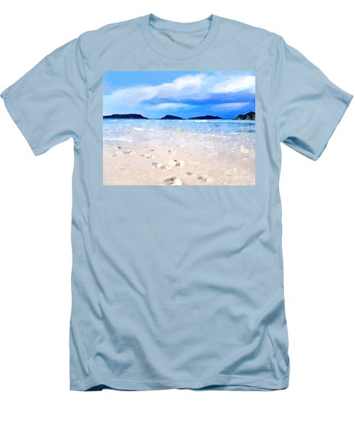 Men's T-Shirt (Slim Fit) featuring the digital art Beach Walk by Anthony Fishburne
