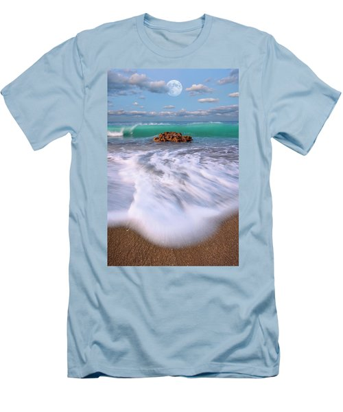 Men's T-Shirt (Slim Fit) featuring the photograph Beautiful Waves Under Full Moon At Coral Cove Beach In Jupiter, Florida by Justin Kelefas