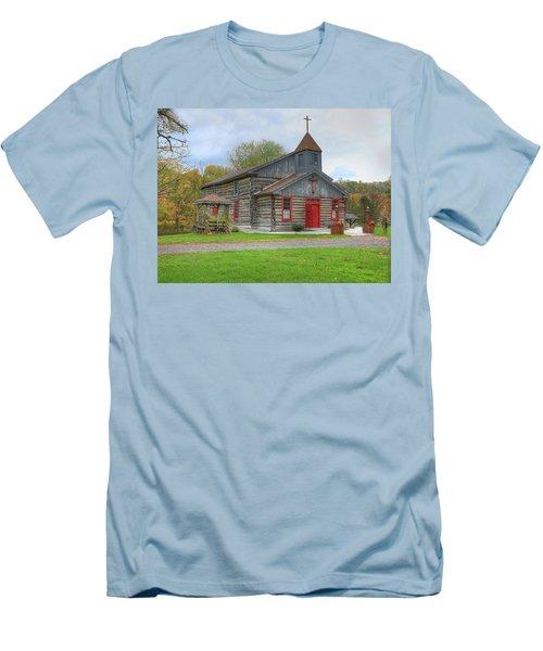 Men's T-Shirt (Slim Fit) featuring the digital art Bedford Village Church by Sharon Batdorf