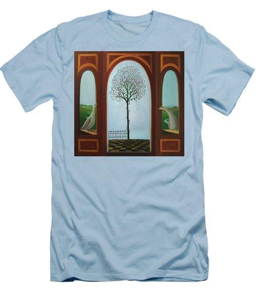 Men's T-Shirt (Slim Fit) featuring the painting Belgian Triptyck by Tone Aanderaa