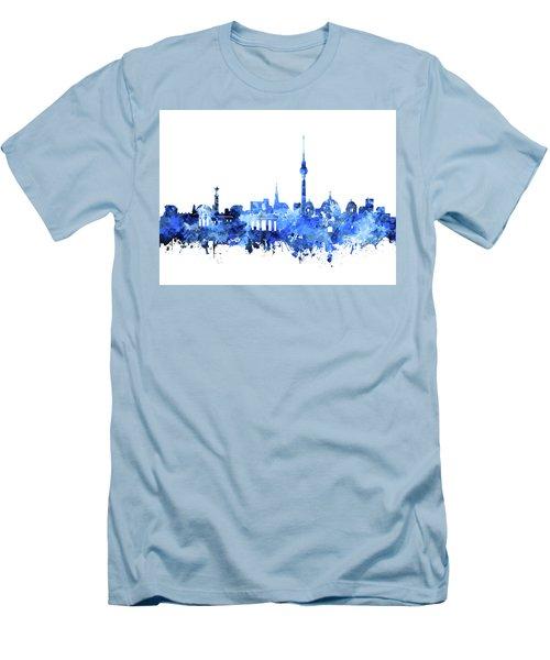 Berlin City Skyline Blue Men's T-Shirt (Slim Fit) by Bekim Art