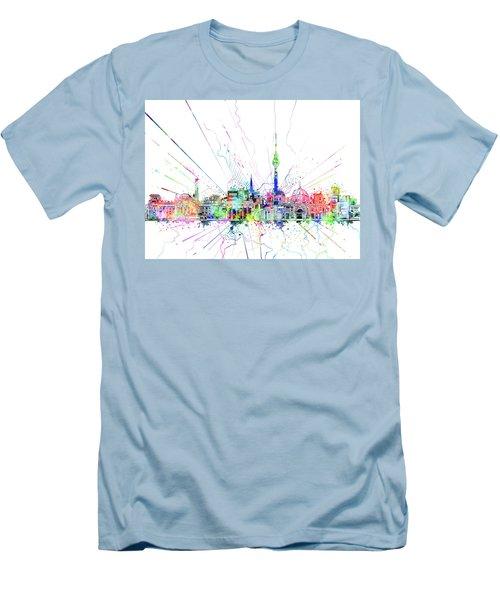 Berlin City Skyline Watercolor 2 Men's T-Shirt (Slim Fit) by Bekim Art