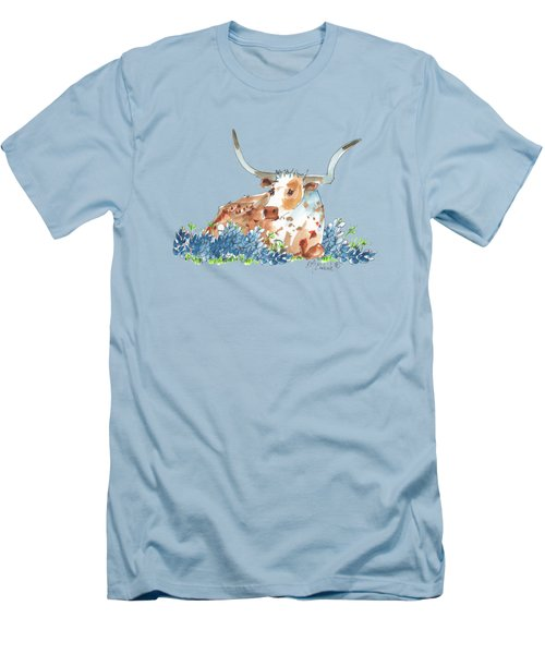 Bessie In The Bluebonnets Watercolor Painting By Kmcelwaine Men's T-Shirt (Slim Fit) by Kathleen McElwaine