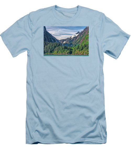 Men's T-Shirt (Slim Fit) featuring the photograph Between The Peaks by Lewis Mann