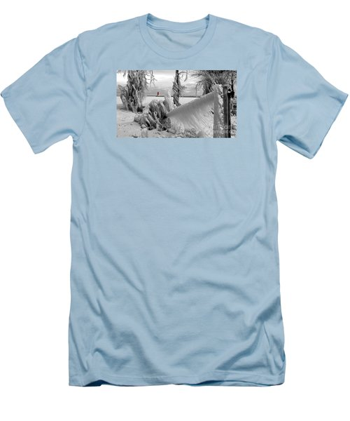 Men's T-Shirt (Slim Fit) featuring the photograph Beyond The Icy Gate - Menominee North Pier Lighthouse by Mark J Seefeldt