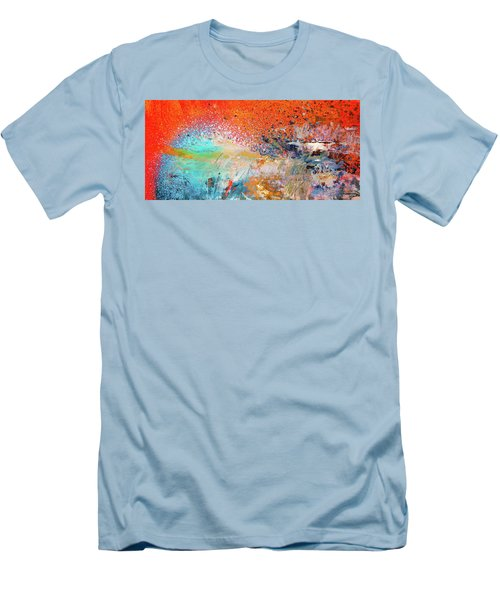 Big Shot - Orange And Blue Colorful Happy Abstract Art Painting Men's T-Shirt (Athletic Fit)