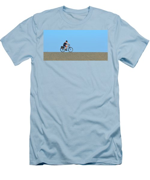 Bike Rider On Levee Men's T-Shirt (Slim Fit) by Josephine Buschman