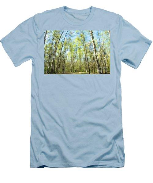 Birch Forest Spring Men's T-Shirt (Slim Fit) by Irina Afonskaya