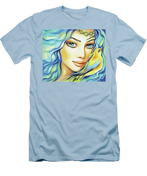 Men's T-Shirt (Slim Fit) featuring the painting Bird Of Secrets by Eva Campbell