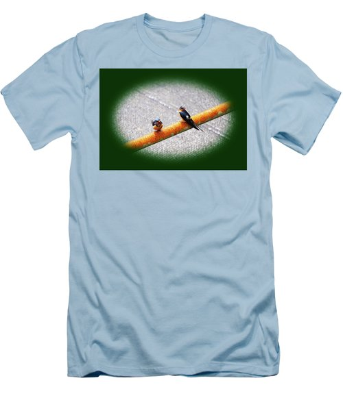 Birds On A Pipe Men's T-Shirt (Slim Fit) by Angi Parks
