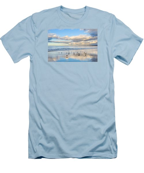 Birds On The Beach Men's T-Shirt (Slim Fit) by Derek Dean