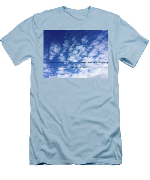 Birds On Wire Men's T-Shirt (Athletic Fit)