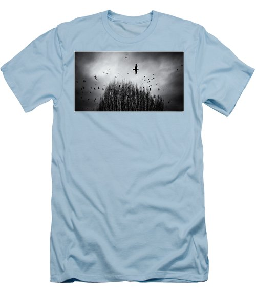 Birds Over Bush Men's T-Shirt (Slim Fit) by Peter v Quenter
