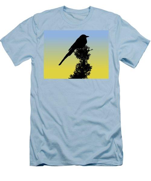 Black-billed Magpie Silhouette At Sunrise Men's T-Shirt (Athletic Fit)