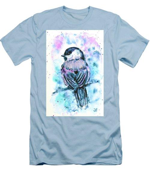 Men's T-Shirt (Slim Fit) featuring the painting Black-capped Chickadee by Zaira Dzhaubaeva