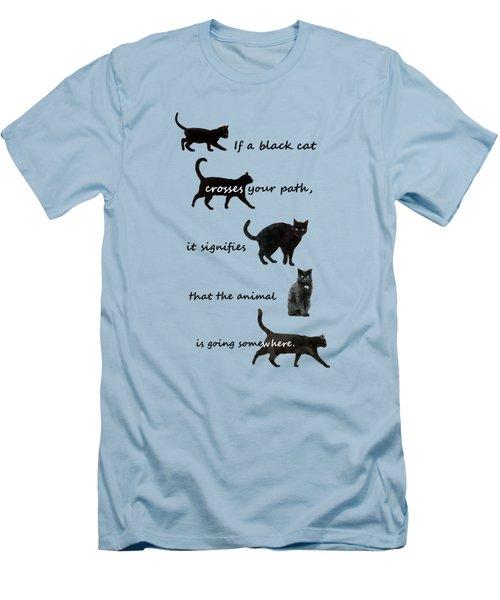 Black Cat Crossing Men's T-Shirt (Slim Fit) by Ivana Westin