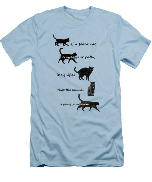 Black Cat Crossing Men's T-Shirt (Athletic Fit)