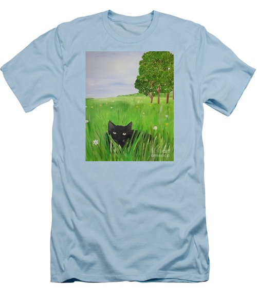 Black Cat In A Meadow Men's T-Shirt (Athletic Fit)