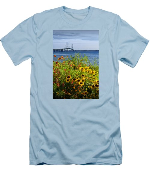Blooming Flowers By The Bridge At The Straits Of Mackinac Men's T-Shirt (Slim Fit) by Randall Nyhof
