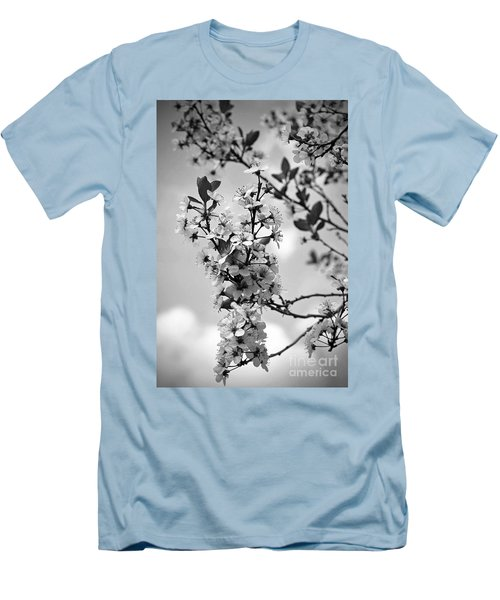 Blossoms In Black And White Men's T-Shirt (Athletic Fit)