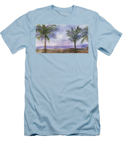 Men's T-Shirt (Slim Fit) featuring the painting Blowing By The Ocean by Vicki  Housel