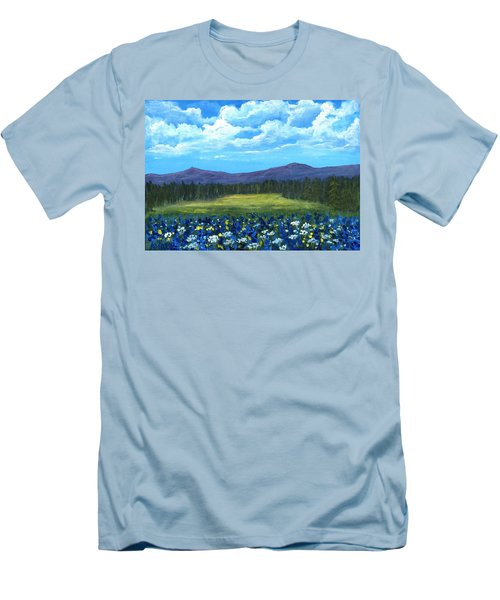 Men's T-Shirt (Athletic Fit) featuring the painting Blue Afternoon by Anastasiya Malakhova