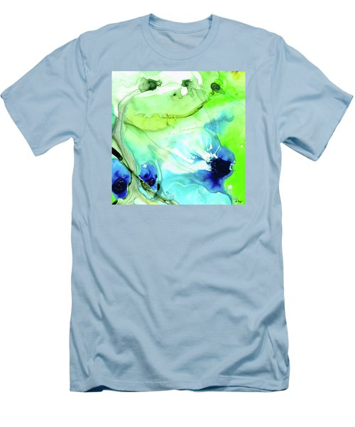Men's T-Shirt (Athletic Fit) featuring the painting Blue And Green Abstract - Land And Sea - Sharon Cummings by Sharon Cummings