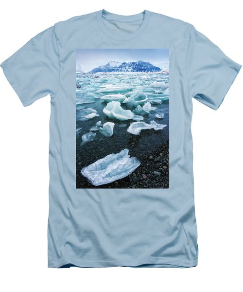 Men's T-Shirt (Slim Fit) featuring the photograph Blue And Turquoise Ice Jokulsarlon Glacier Lagoon Iceland by Matthias Hauser