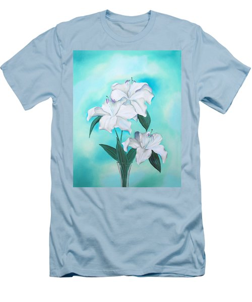 Men's T-Shirt (Athletic Fit) featuring the mixed media Blue And White by Elizabeth Lock