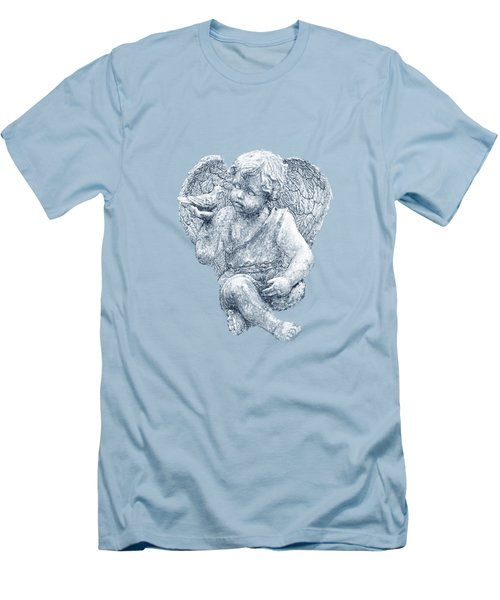 Blue Angel Cutout Men's T-Shirt (Slim Fit) by Linda Phelps