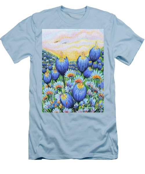 Men's T-Shirt (Slim Fit) featuring the painting Blue Belles by Holly Carmichael