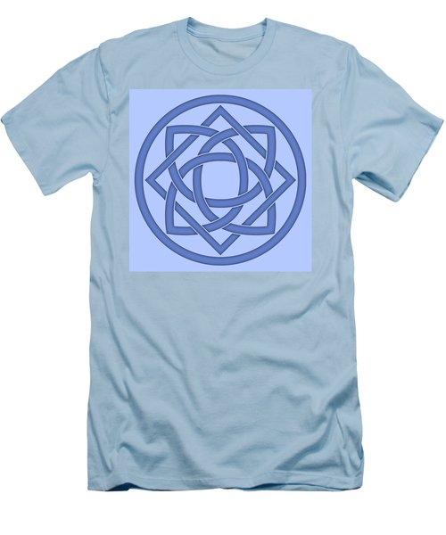 Men's T-Shirt (Slim Fit) featuring the digital art Blue Celtic Knot by Jane McIlroy