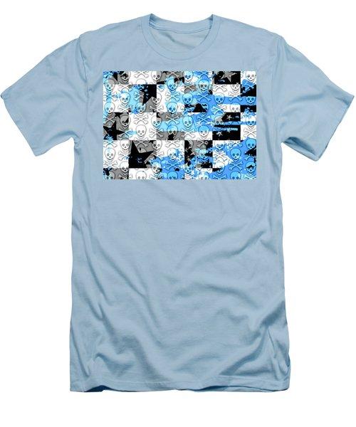Blue Checker Skull Splatter Men's T-Shirt (Athletic Fit)