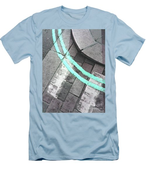 Men's T-Shirt (Athletic Fit) featuring the photograph Blue Curb by Rebecca Harman