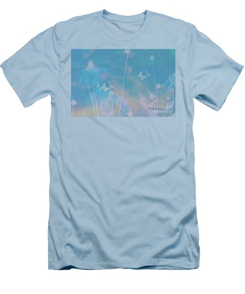 Blue Daisies And Butterflies Men's T-Shirt (Slim Fit) by Sherri's Of Palm Springs