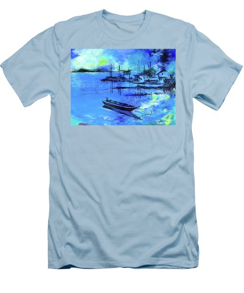 Men's T-Shirt (Slim Fit) featuring the painting Blue Dream 2 by Anil Nene