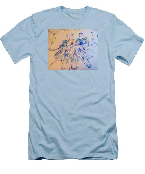 Blue Flower Polka Men's T-Shirt (Athletic Fit)