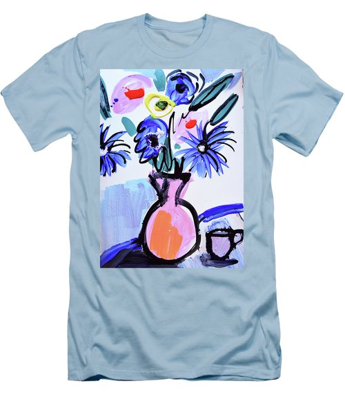 Blue Flowers And Coffee Cup Men's T-Shirt (Slim Fit) by Amara Dacer
