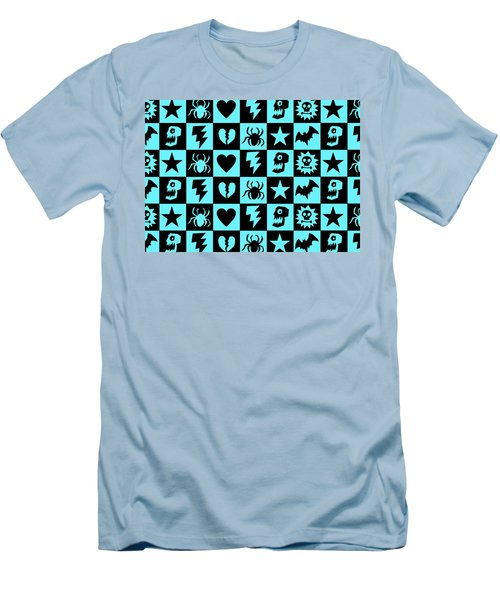 Blue Goth Punk Checkers Men's T-Shirt (Slim Fit) by Roseanne Jones