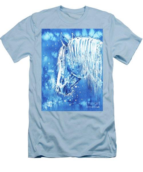 Men's T-Shirt (Athletic Fit) featuring the painting Blue Horse by Zaira Dzhaubaeva