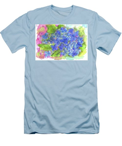 Men's T-Shirt (Slim Fit) featuring the painting Blue Hydrangea by Cathie Richardson