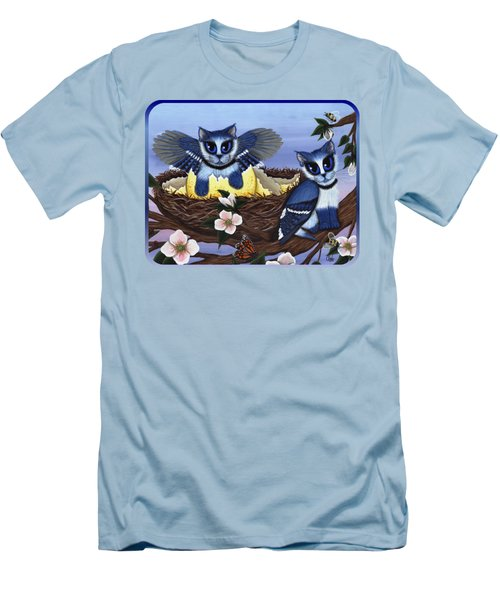Blue Jay Kittens Men's T-Shirt (Slim Fit) by Carrie Hawks