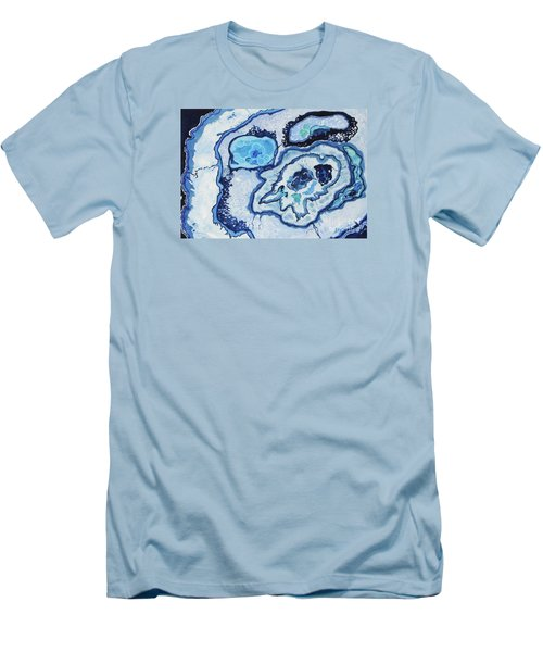Men's T-Shirt (Slim Fit) featuring the painting Blue Lace Agate I by Ellen Levinson
