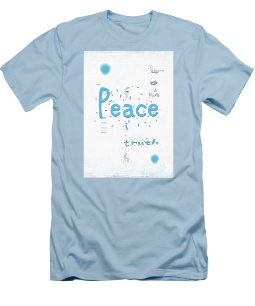 Blue Peace Men's T-Shirt (Slim Fit) by Linda Prewer