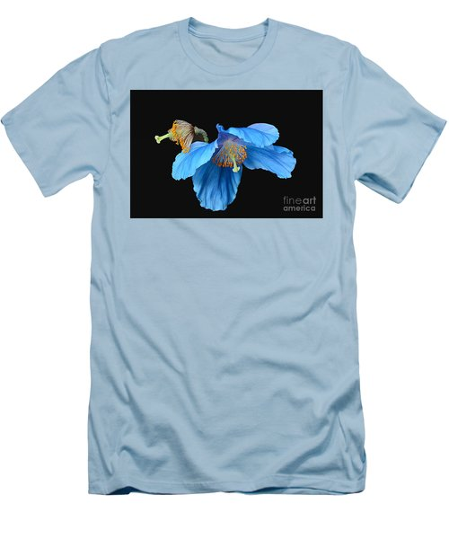 Blue Poppies Men's T-Shirt (Slim Fit) by Cindy Manero