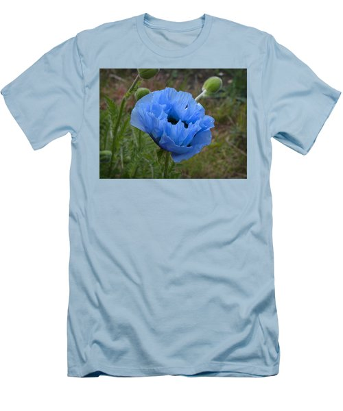 Blue Poppy Men's T-Shirt (Athletic Fit)